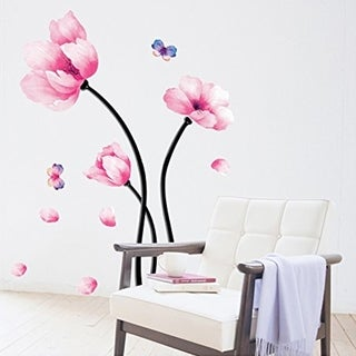 Wall Decal Pink Flower - Wall Mural Peel and Stick Wall Vinyl