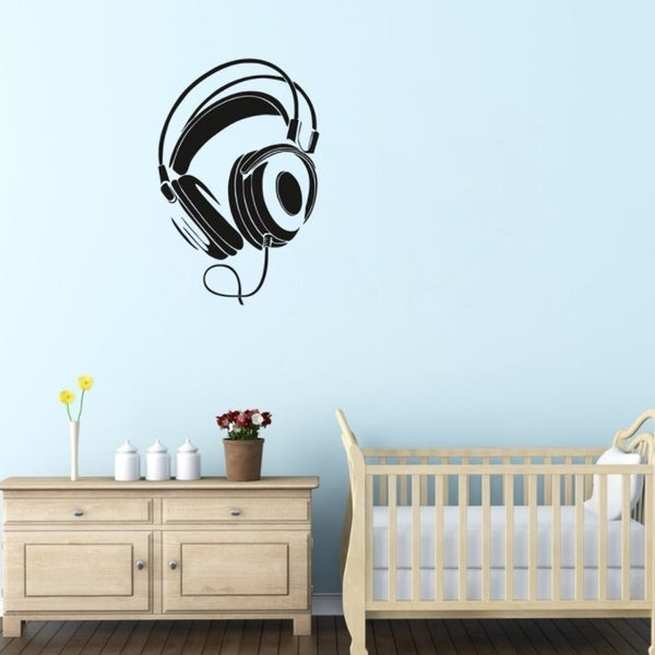 shop music dj headphones wall stickers boys room wall decor vinyl