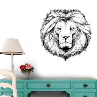 Lion Head Peel and Stick Wall Decals 18 in H x 18 in W Wall Vinyl
