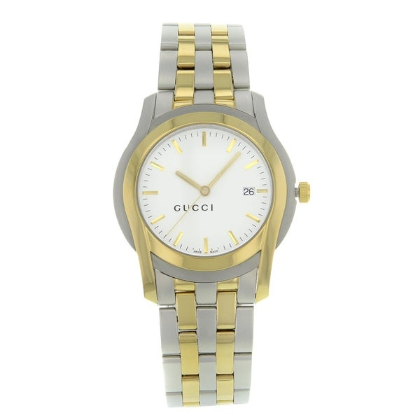 3d360bf9a54 Shop Gucci 5500 YA055216 Stainless Steel Gold Plated Quartz Men s ...