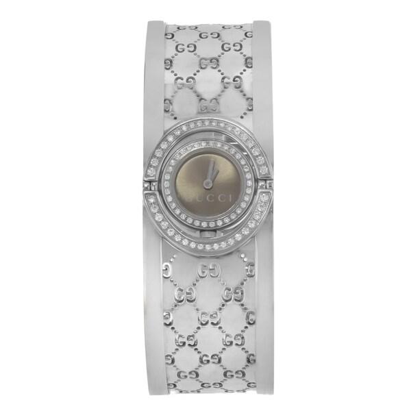 c87b6904a06 Shop Gucci 112 Stainless Steel   Diamonds Quartz Ladies Watch - Free ...