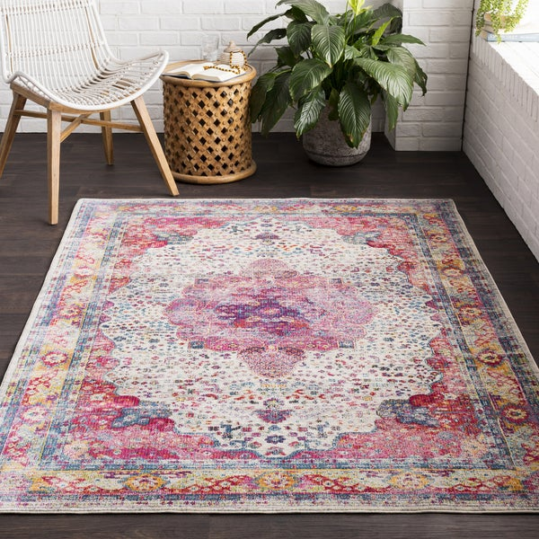 Millie Distressed Traditional Grey Area Rug - 2' x 3'