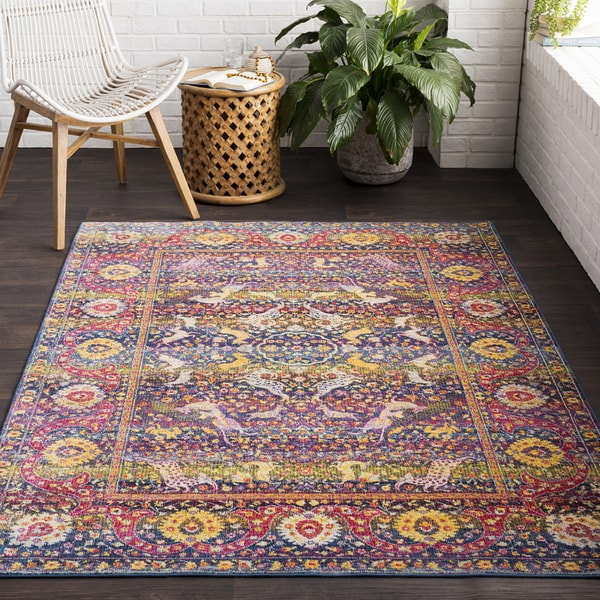 Lauren Vintage Orange & Blue Area Rug - 2' x 3'