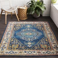 The Curated Nomad Mariposa Traditional Oriental Blue Area Rug - 7'10 x 10'3
