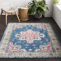"Vapouria Classic Traditional Blue/Pink Area Rug (5'3 x 7'6) - 5'3"" x 7'6"""