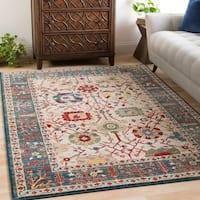 Vintage Oriental Damask Blue Area Rug (2'6 x 7'10)