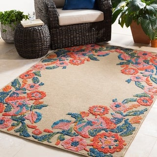 Genies Floral Border Indoor/ Outdoor Area Rug