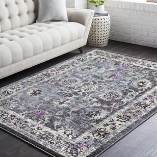 Rejualdo Traditional Black/Purple Oriental Area Rug (7'10 x 10'3)