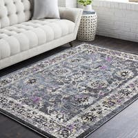 Rejualdo Traditional Black/Purple Oriental Area Rug (7'10 x 10'3)