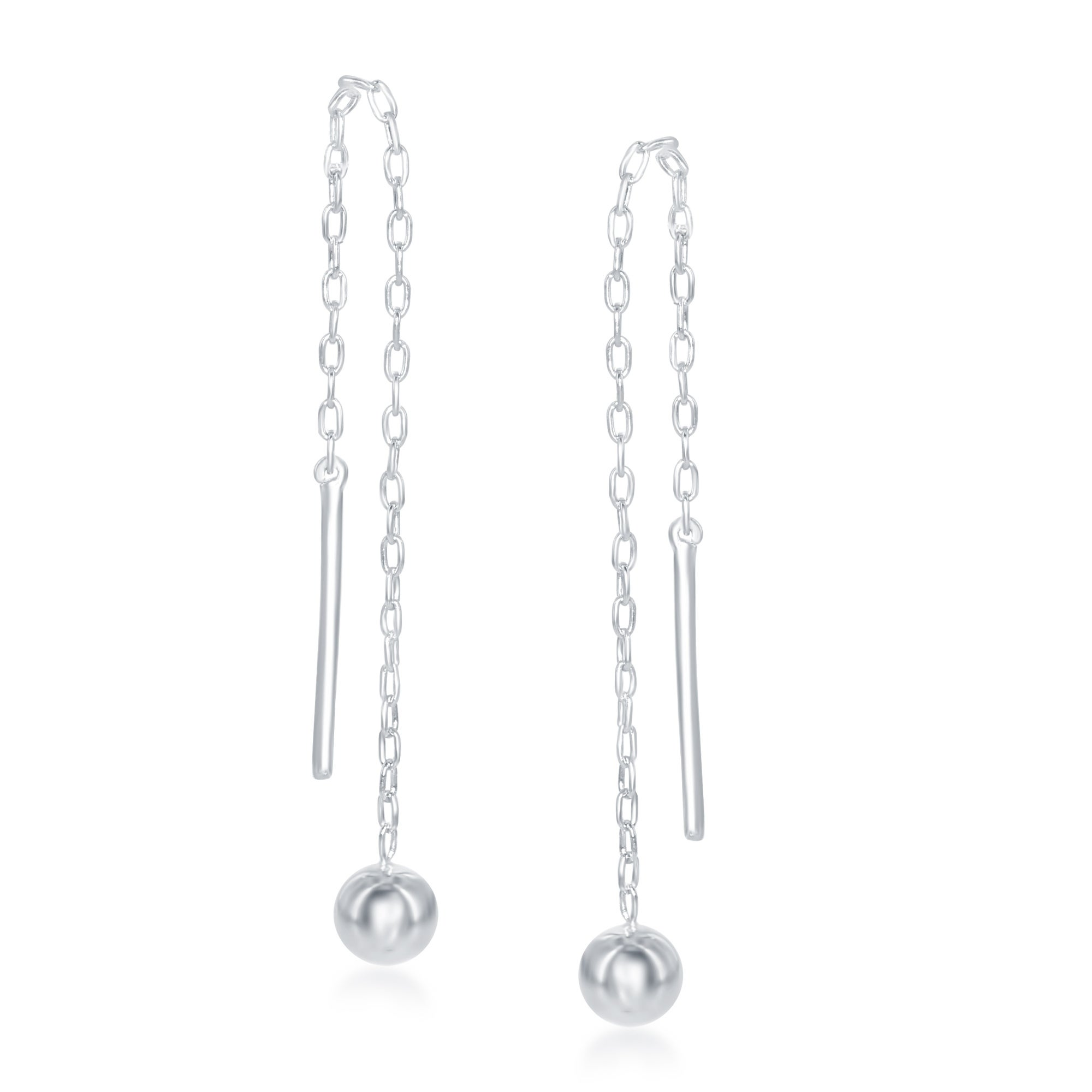925 Sterling Silver Polished /& Diamond-cut Star Beaded Threader Earrings