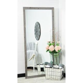 "BrandtWorks Madame Gold Leaf Decorative Floor Mirror with Gray Wooden Frame - 30"" x 69"""