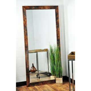 Dark Brown/Black Wood/Glass Floor Mirror With Marbled Distressed Mahogany Finish