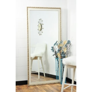 BrandtWorks Distressed Vintage English Cream Decorative Floor Mirror - 70.5""