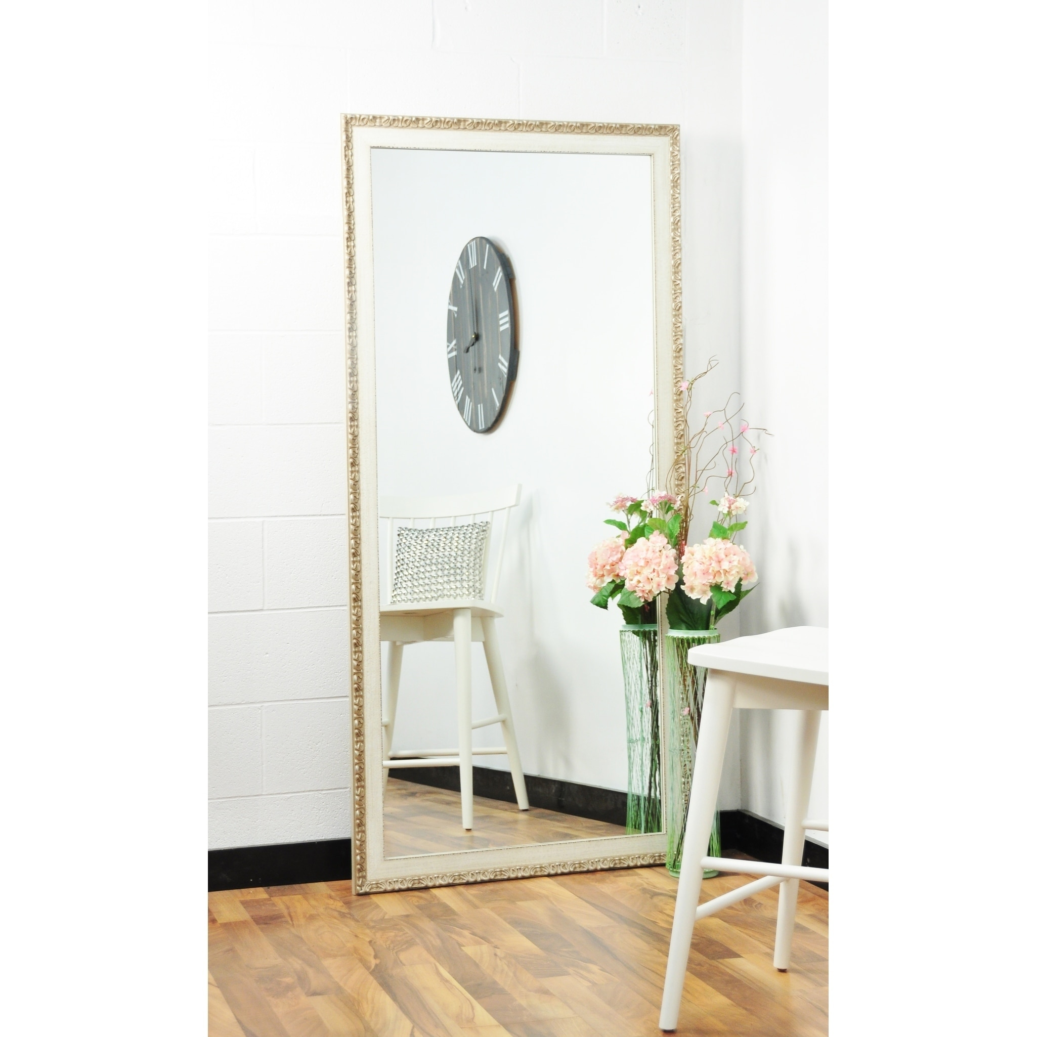 Multi Size Brandtworks Vintage English Cream Floor Mirror Antique White Overstock 17674892