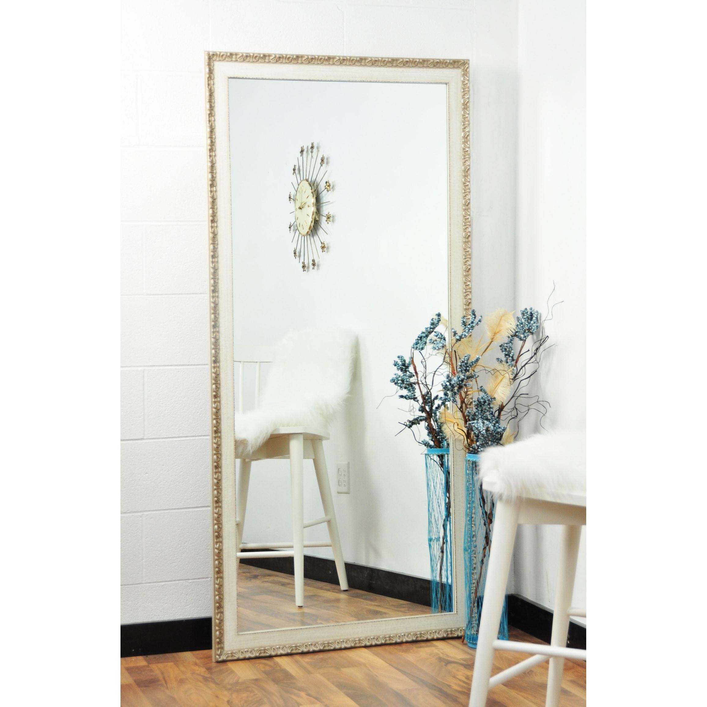 Multi Size Brandtworks Vintage English Cream Floor Mirror Antique White Overstock 17674892