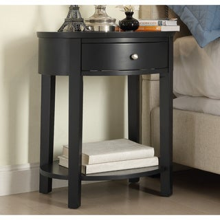 Fillmore 1-drawer Oval Wood Shelf Accent End Table by iNSPIRE Q Bold in White(As Is Item)