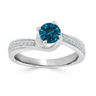 Auriya 14k Gold 3/4ct TDW Blue and White Round Diamond Engagement Ring