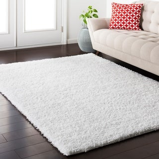 "Caiden White Shag Area Rug - 6'7"" x 9'6"""