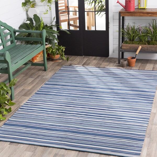 Shop Giornico Bluewhite Striped Area Rug 8 X 10 8 X 10