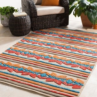 """Link to Marvao Southwestern Striped Indoor/ Outdoor Area Rug - 5' x 7'6"""" Similar Items in Rugs"""
