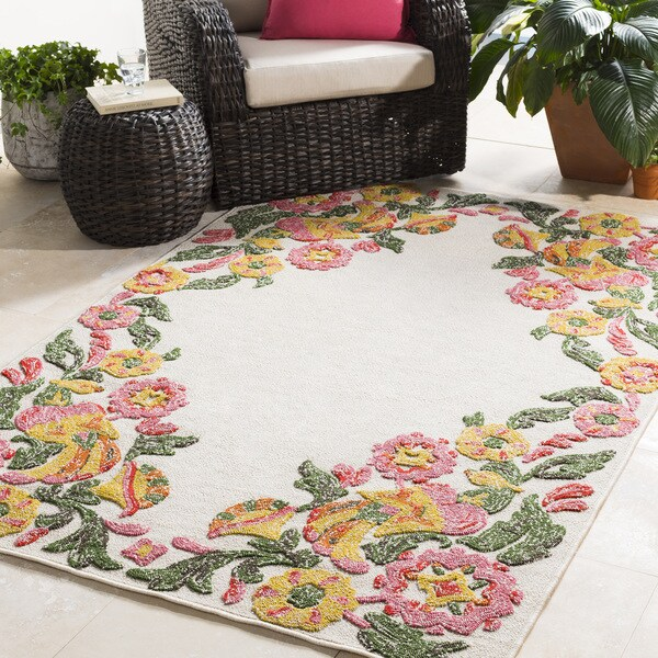 Genies Floral Border Area Rug - 8' x 10'
