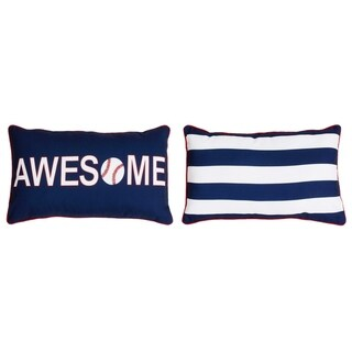 Austin Awesome Baseball Reversible Kids Pillow in Navy & Red