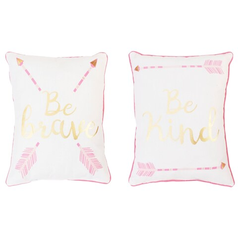 """Be Brave and Kind"" Reversible Printed Kids Pillow in Pink & Gold"