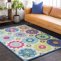 Esten Yellow/Blue Wool Classic Medallion Area Rug (8' x 10')