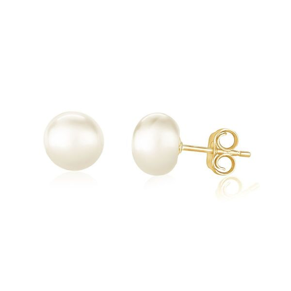 Pearlyta 14k Gold 'AAA' Quality Pearl Button Stud Earrings (7 - 8mm) - White. Opens flyout.