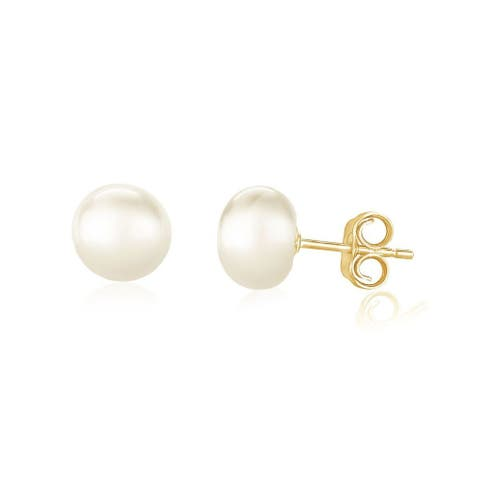 Pearlyta 14K Gold 'AAA' Quality Pearl Button Stud Earrings (8 - 9mm) - White