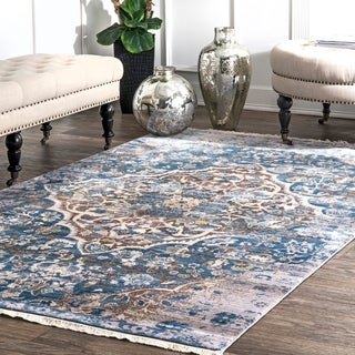 nuLOOM Blue Vintage Faded Floral Heart Diamond Medallion Area Rug