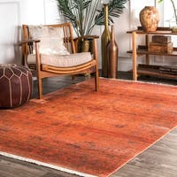 nuLOOM Vintage Faded Floral Heart Herati Orange Fringe Rug (5' x 7'9)