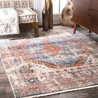 nuLOOM Vintage Faded Olden Tribal Medallion Blue Rug - 8' x 10'