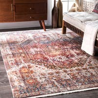 nuLOOM Vintage Faded Olden Tribal Medallion Rust Rug - 8' x 10'