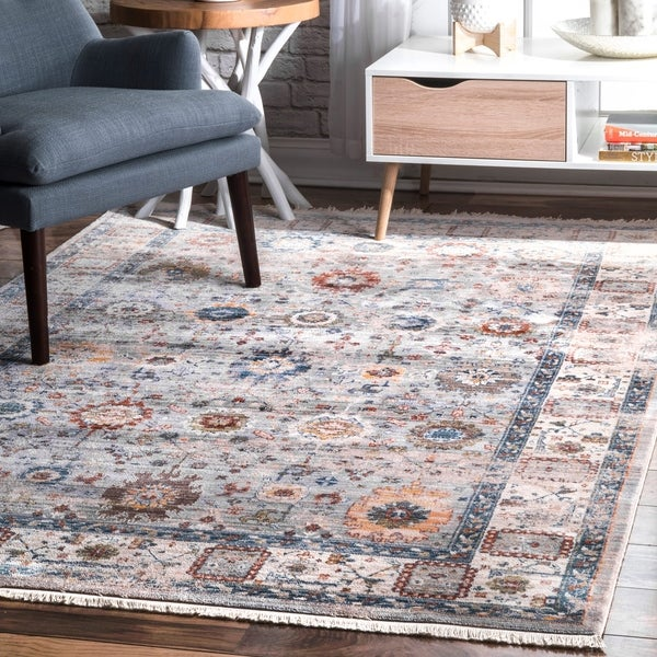 nuLOOM Grey Vintage Faded Winter Floral Garden Border Area Rug