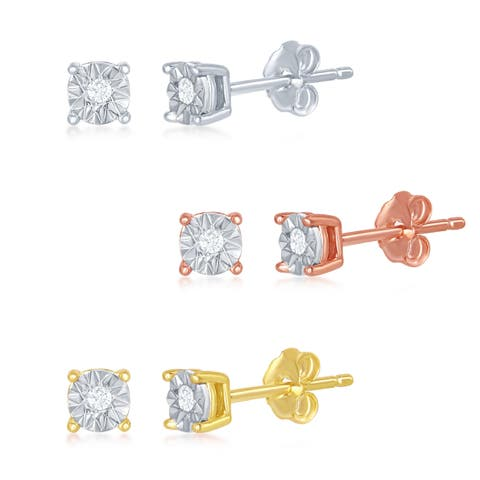 La Preciosa Set of 3 Sterling Silver/Rose Gold/Gold Tone with Center 0.6ctw Diamond 4MM Sparkling Illusion-Cut Stud Earrings