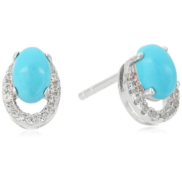 aaaa4b3d1 Pinctore Ster Silver Natural Turquoise, Created White Sapphire Stud Earrings  - Blue. Image Gallery