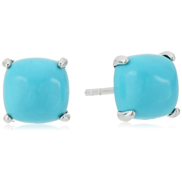 6cc644e48 Shop Pinctore Sterling Silver Natural Turquoise Cushion Stud Earrings -  Blue - Free Shipping Today - Overstock - 17675299