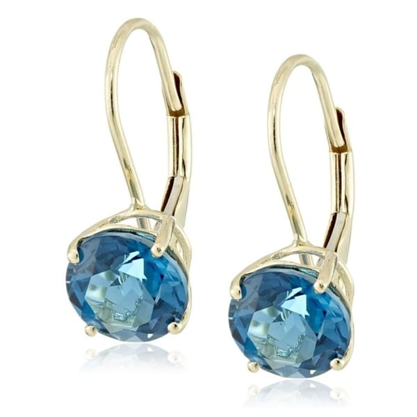 Pinctore 10k Yellow Gold London Blue Topaz Round Lever Dangle Earrings