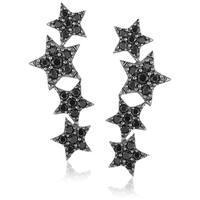 Sterling Silver Black Spinel Ear Climbers Earrings