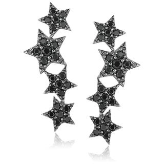 Sterling Silver Black Spinel Ear Climbers Earrings