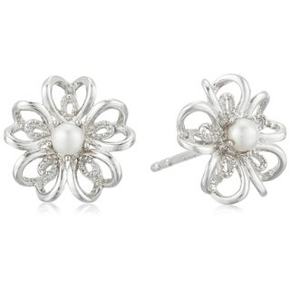 Sterling Silver Fresh Water Pearl Stud Earrings - White
