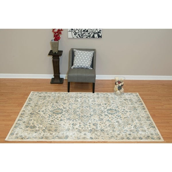 Westfield Home Royale Serilda Bone Cream/ Blue Oversized Area Rug - 12'6 x 15'