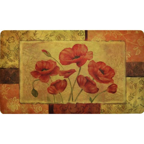 "Fashion Comfort Anti-Fatigue Kitchen Mats Jacobean Poppy (18"" x 30"") (Set of 2) - multi"