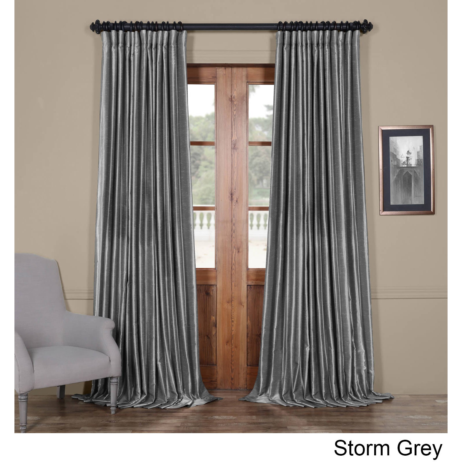 exclusive fabrics faux silk extra wide blackout curtain ebay. Black Bedroom Furniture Sets. Home Design Ideas