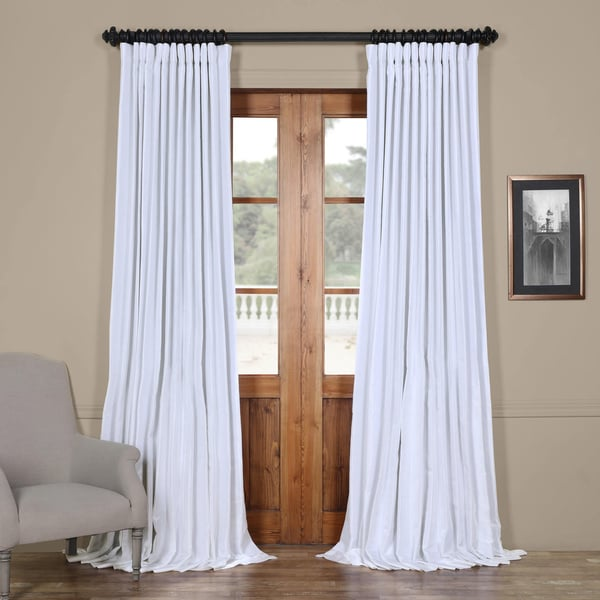 shop exclusive fabrics faux silk extra wide blackout curtain on sale free shipping today. Black Bedroom Furniture Sets. Home Design Ideas