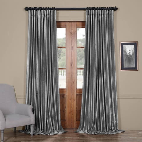 Exclusive Fabrics Blackout Extra Wide Vintage Textured Faux Dupioni Single Curtain Panel