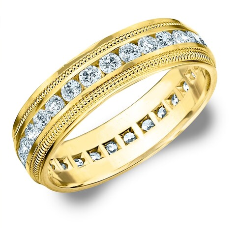 Amore 14K Yellow Gold Men's 1.5 CT TDW Diamond Eternity Milgrain Band - White