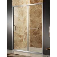 ANZZI Regent 48 x 72 in. Framed Sliding Shower Door in Brushed Nickel