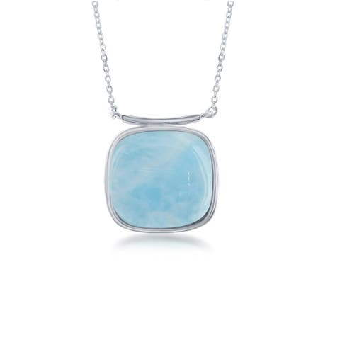 La Preciosa Sterling Silver Square Natural Larimar Gemstone 16 + 2'' Necklace